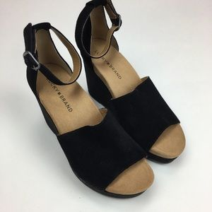 Lucky Brand Women's Wedge Sandals 7.5 Black Suede